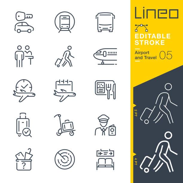 lineo editable stroke - ikony konspektu lotniska i podróży - podróżowanie stock illustrations