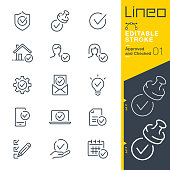 istock Lineo Editable Stroke - Approved and Checked outline icons 1195029972
