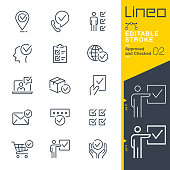 istock Lineo Editable Stroke - Approved and Checked outline icons 1195029973
