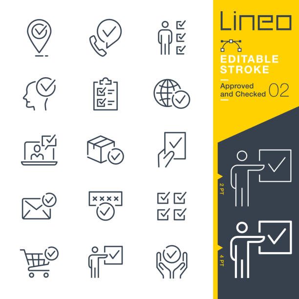 Lineo Editable Stroke - Approved and Checked outline icons Vector icons - Adjust stroke weight - Expand to any size - Change to any colour choosing stock illustrations