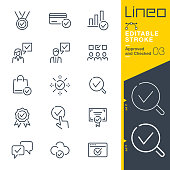 istock Lineo Editable Stroke - Approved and Checked outline icons 1195029974