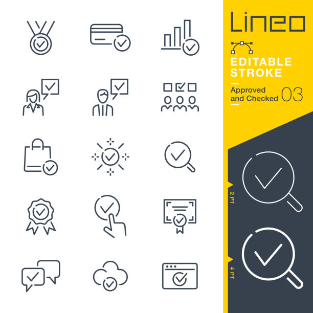 Lineo Editable Stroke - Approved and Checked outline icons Vector icons - Adjust stroke weight - Expand to any size - Change to any colour tandvård stock illustrations