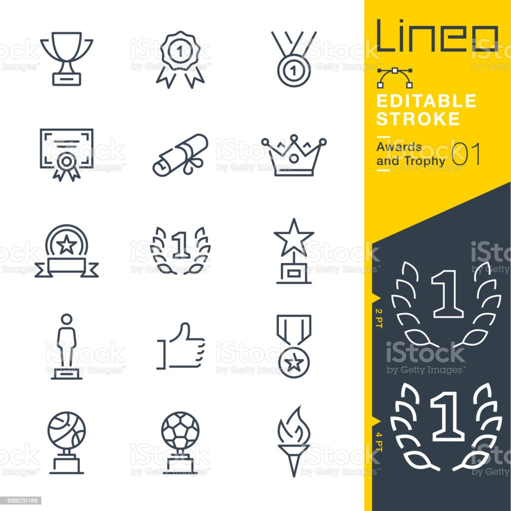 Lineo Editable Stroke - Awards and Trophy line icons - Grafika wektorowa royalty-free (Baner)