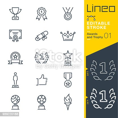 istock Lineo Editable Stroke - Awards and Trophy line icons 939220188