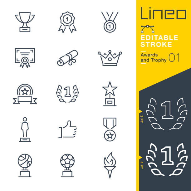 illustrazioni stock, clip art, cartoni animati e icone di tendenza di lineo editable stroke - awards and trophy line icons - attestato