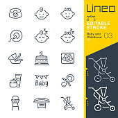 istock Lineo Editable Stroke - Baby and Childhood line icons 1187794904