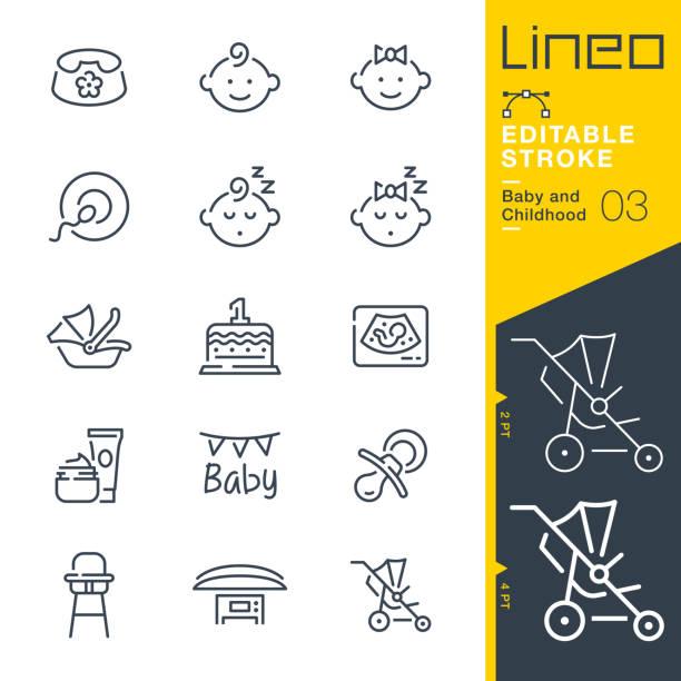 リネオ編集可能なストローク - 赤ちゃんと子供の頃のラインアイコン - 赤ちゃん点のイラスト素材/クリップアート素材/マンガ素材/アイコン素材