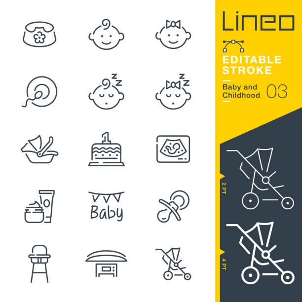 Lineo Editable Stroke - Baby and Childhood line icons vector art illustration
