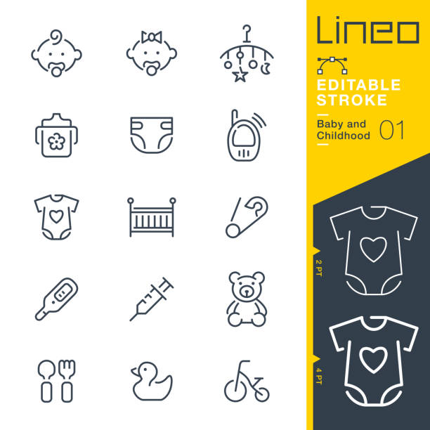 Lineo Editable Stroke - Baby and Childhood line icons Vector Icons - Adjust stroke weight - Expand to any size - Change to any colour baby clothing stock illustrations