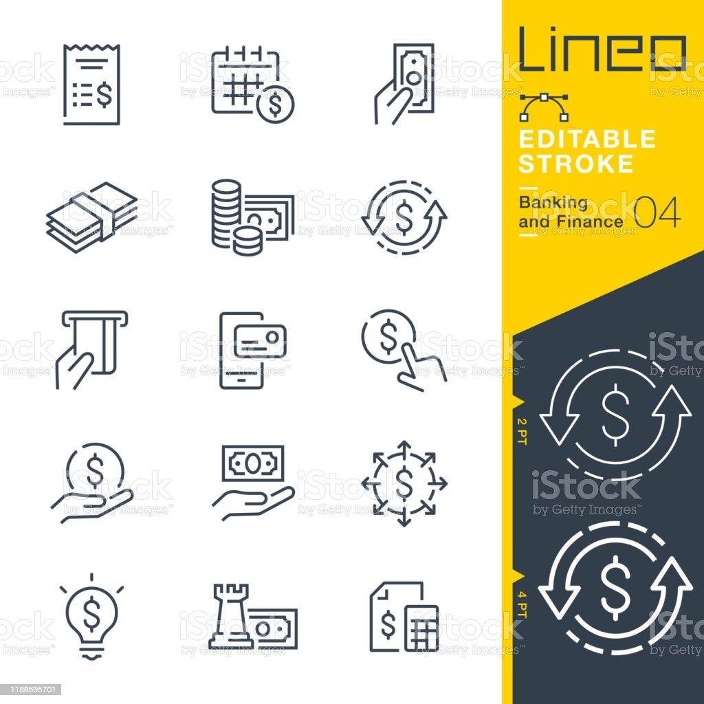 LineO redigerbar stroke-bank-och finans linje ikoner - Royaltyfri Affärsman vektorgrafik