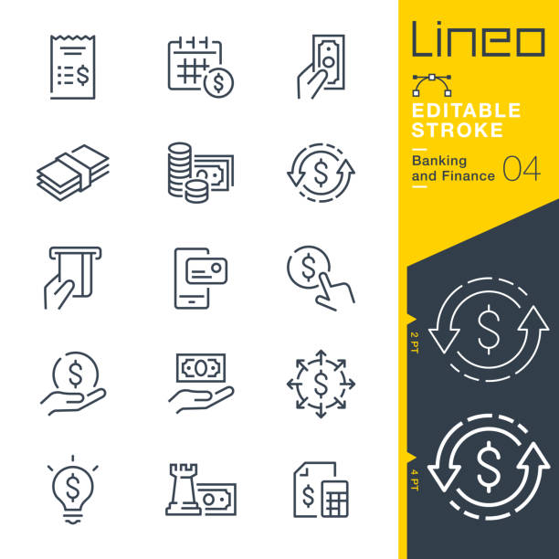 lineo editable stroke - banking and finance line icons - bank stock illustrations