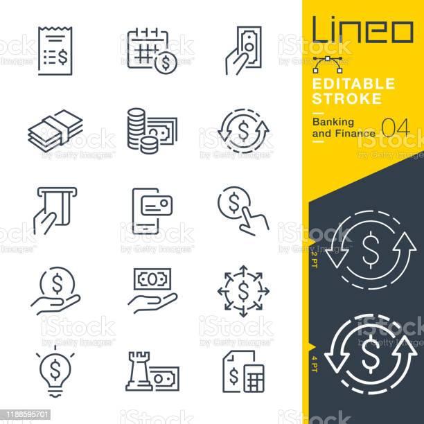 Tratto Modificabile Lineo Icone Della Linea Bancaria E Finanziaria - Immagini vettoriali stock e altre immagini di Affari