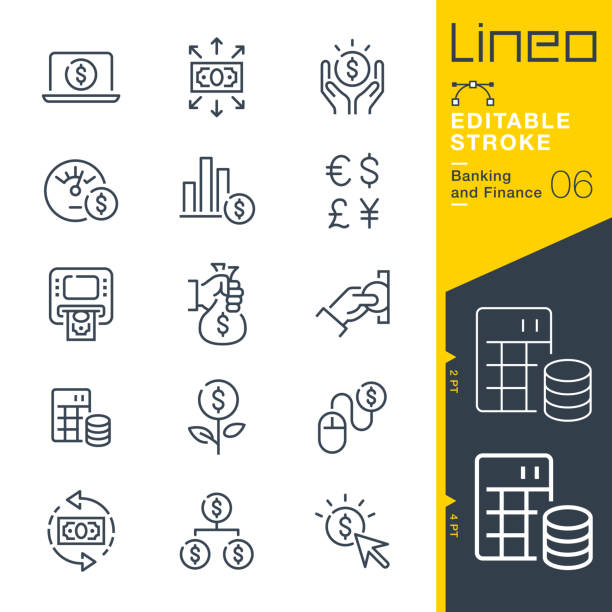 Lineo Editable Stroke - Banking and Finance line icons Vector Icons - Adjust stroke weight - Expand to any size - Change to any colour euro symbol stock illustrations