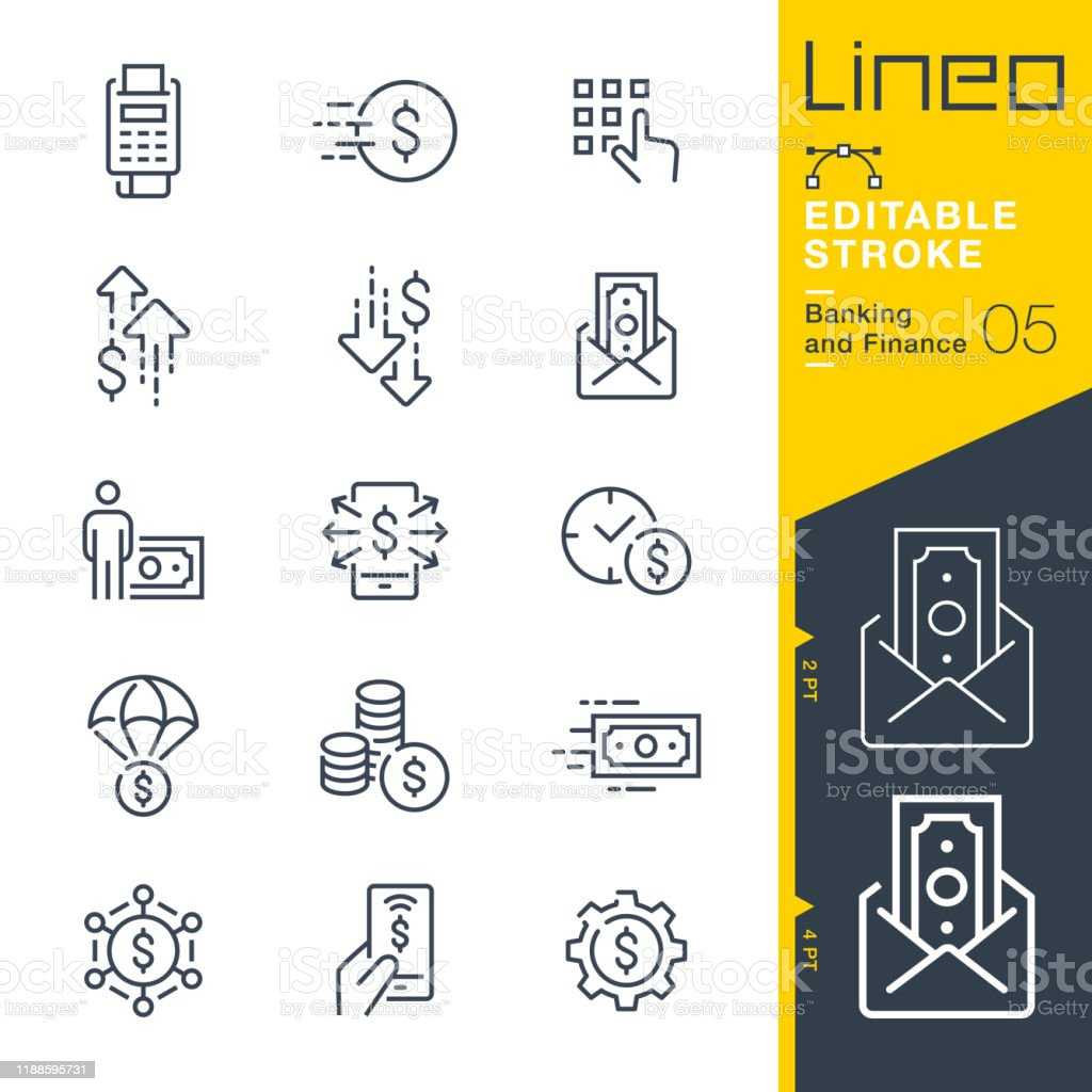 Lineo Editable Stroke - Banking and Finance line icons - Royalty-free Aplicação móvel arte vetorial