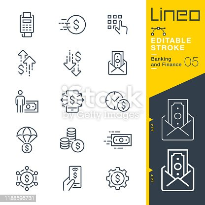 istock Lineo Editable Stroke - Banking and Finance line icons 1188595731