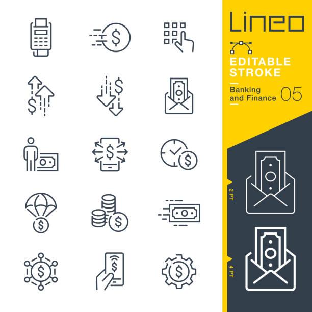 lineo 可編輯描邊 - 銀行和金融行圖示 - money 幅插畫檔、美工圖案、卡通及圖標
