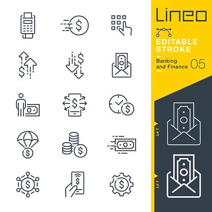 Lineo Editable Stroke Banking And Finance Line Icons - Arte vetorial de stock e mais imagens de Aplicação móvel