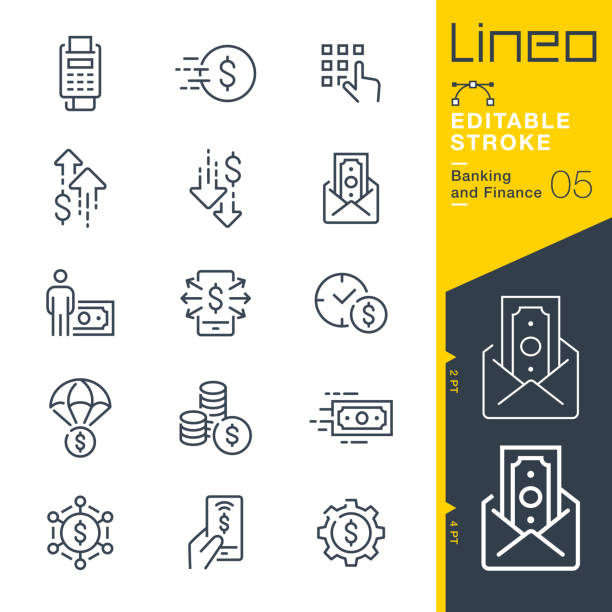 lineo editable stroke - banking and finance line icons - płacić stock illustrations