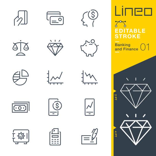 lineo editable stroke - banking- und finance-liniensymbole - gleichgewicht stock-grafiken, -clipart, -cartoons und -symbole
