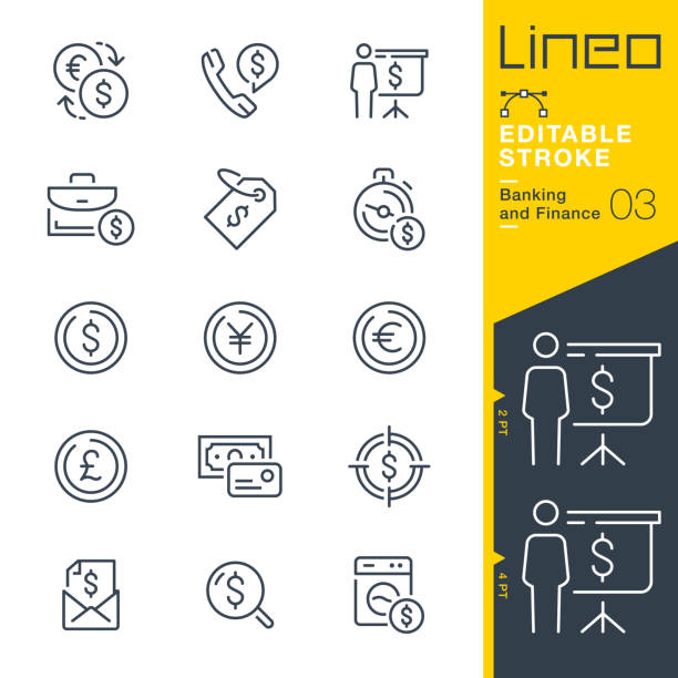 Lineo Editable Stroke - Banking and Finance line icons Vector Icons - Adjust stroke weight - Expand to any size - Change to any colour european union currency stock illustrations