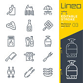istock Lineo Editable Stroke - Barbecue and Grill outline icons 1187794906