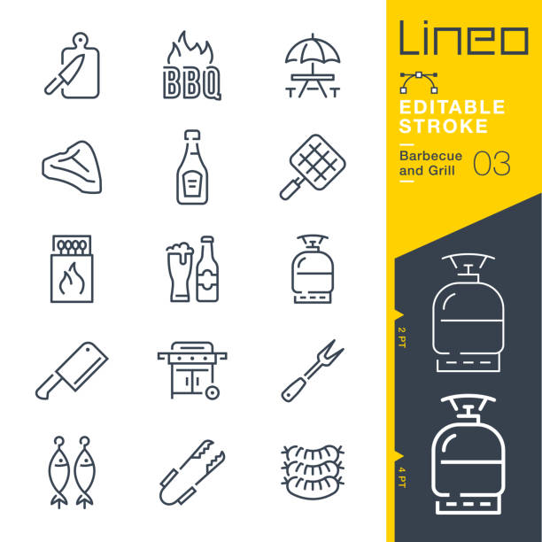 Lineo Editable Stroke - Barbecue and Grill outline icons vector art illustration