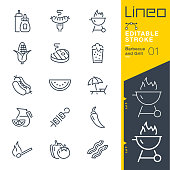 istock Lineo Editable Stroke - Barbecue and Grill outline icons. 1189102837