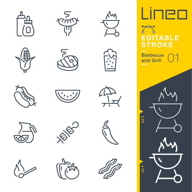 Lineo Editable Stroke - Barbecue and Grill outline icons. vector art illustration