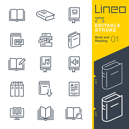 Lineo Editable Stroke - Book and Reading line icons