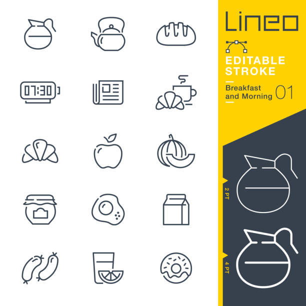 Lineo Editable Stroke - Breakfast and Morning line icons Vector Icons - Adjust stroke weight - Expand to any size - Change to any colour bread stock illustrations