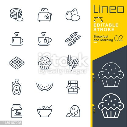 istock Lineo Editable Stroke - Breakfast and Morning line icons 1189107293