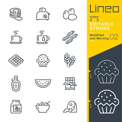 Lineo Editable Stroke Breakfast And Morning Line Icons - Arte vetorial de stock e mais imagens de Alimentação Saudável