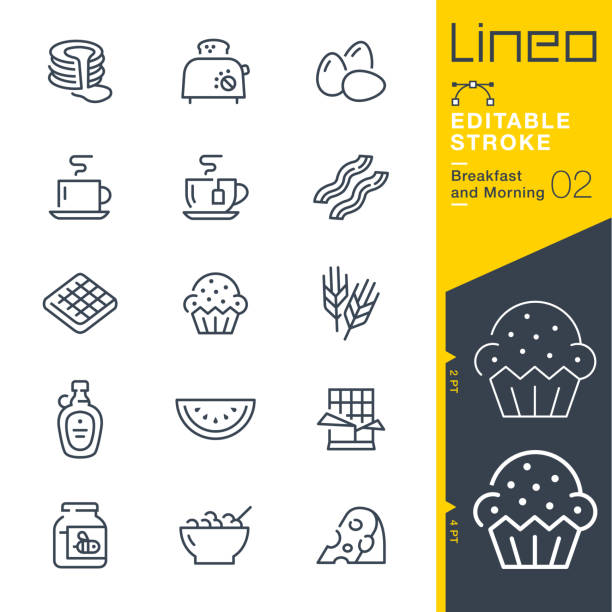 Lineo Editable Stroke - Breakfast and Morning line icons Vector Icons - Adjust stroke weight - Expand to any size - Change to any colour animal stage stock illustrations