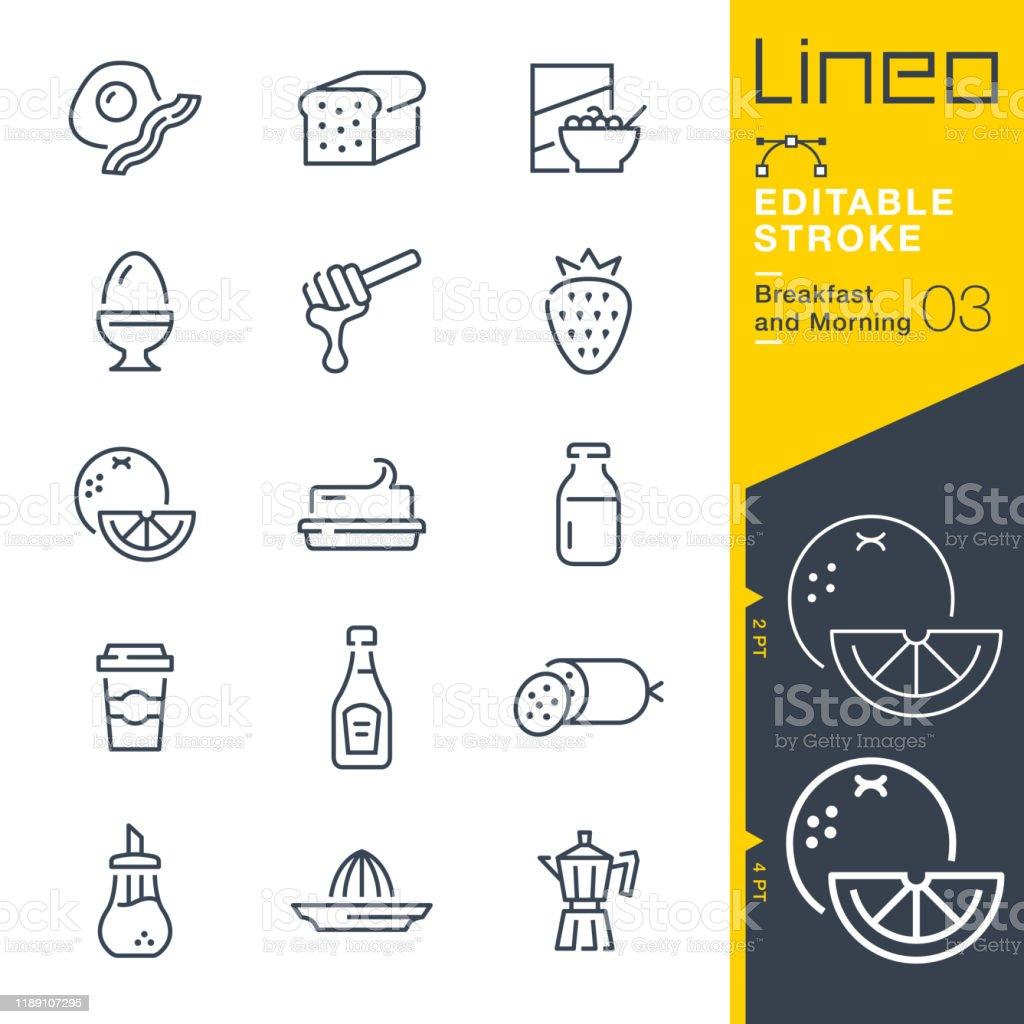 Lineo Editable Stroke - Breakfast and Morning line icons - Royalty-free Alimentação Saudável arte vetorial