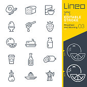 istock Lineo Editable Stroke - Breakfast and Morning line icons 1189107295