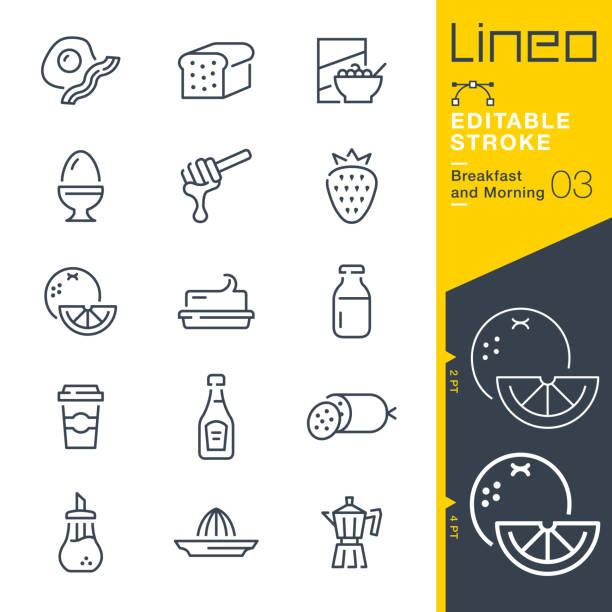 ilustrações de stock, clip art, desenhos animados e ícones de lineo editable stroke - breakfast and morning line icons - manteiga