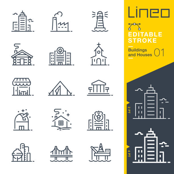 Lineo Editable Stroke - Buildings and Houses outline icons Vector icons - Adjust stroke weight - Expand to any size - Change to any colour church stock illustrations