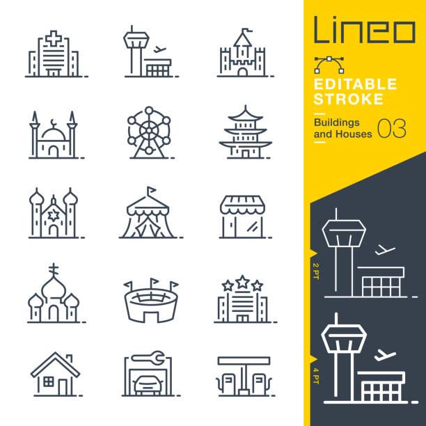 ilustrações de stock, clip art, desenhos animados e ícones de lineo editable stroke - buildings and houses outline icons - house garage