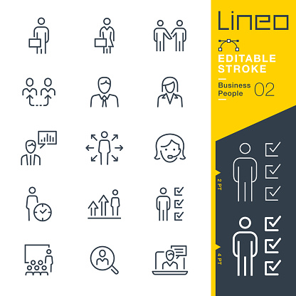 Lineo Editable Stroke - Business People line icons clipart