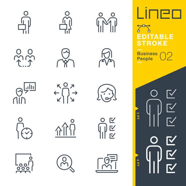 리노 편집 스트로크 - 비즈니스 피플 라인 아이콘 - 상징 stock illustrations