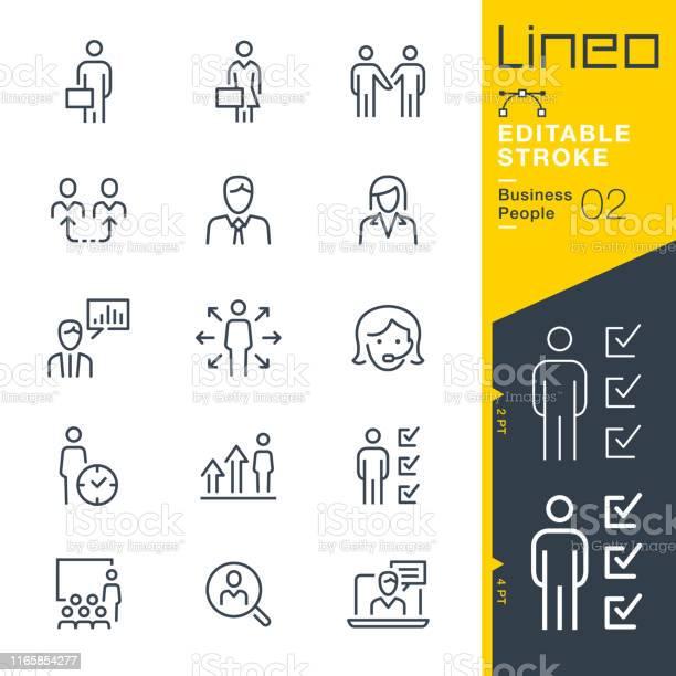 Lineo Redigerbar Strokebusiness People Linje Ikoner-vektorgrafik och fler bilder på Affärskvinna