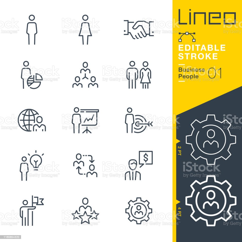 Lineo Editable Stroke - Business People line icons - Royalty-free Acordo arte vetorial