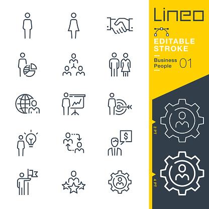 Lineo Editable Stroke Business People Line Icons — стоковая векторная графика и другие изображения на тему Employee