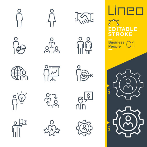 lineo editable stroke - business people liniensymbole - all vocabulary stock-grafiken, -clipart, -cartoons und -symbole