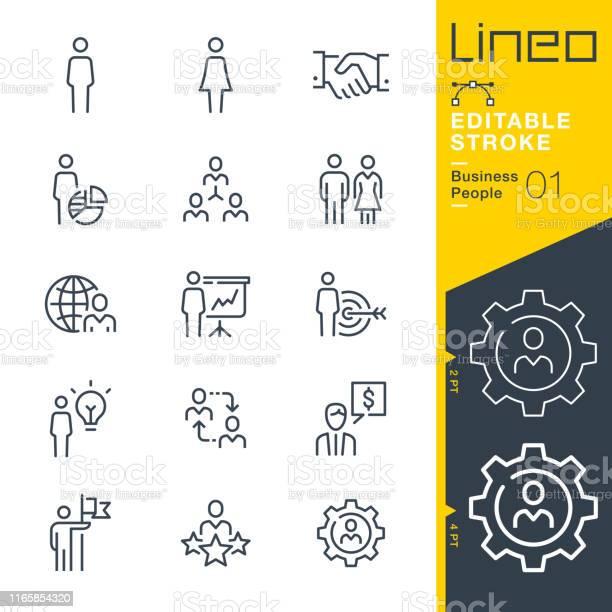 Lineo Bewerkbare Lijnzakelijke Mensen Lijn Pictogrammen Stockvectorkunst en meer beelden van Bedrijfsleven
