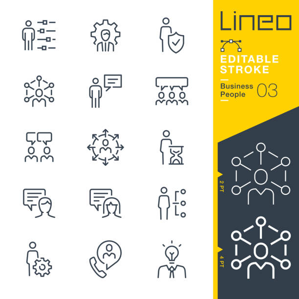 lineo editable stroke - ikony linii osoby biznesowe - menadżer stock illustrations