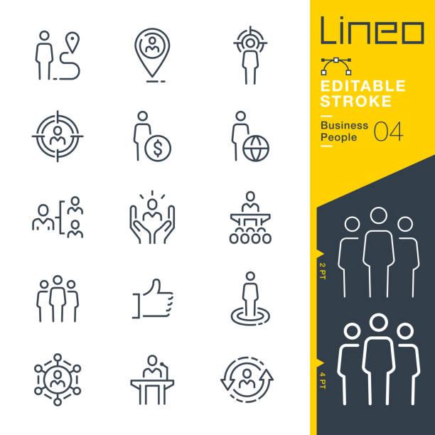 stockillustraties, clipart, cartoons en iconen met lineo bewerkbare lijn-zakelijke mensen lijn pictogrammen - all vocabulary
