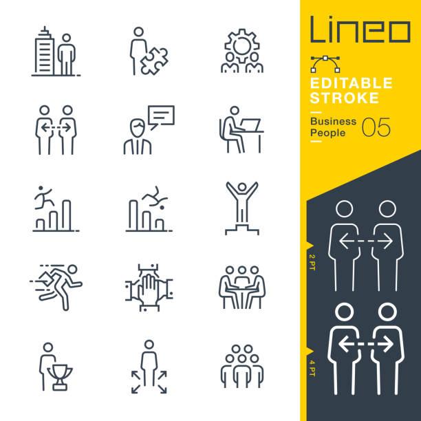 ilustrações, clipart, desenhos animados e ícones de curso editable de lineo-ícones da linha dos executivos - work