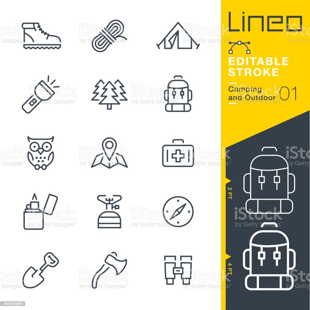 Lineo Editable Stroke - Camping and Outdoor outline icons vector art illustration