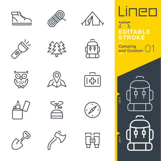 Lineo Editable Stroke - Camping and Outdoor outline icons Vector Icons - Adjust stroke weight - Expand to any size - Change to any colour hiking stock illustrations